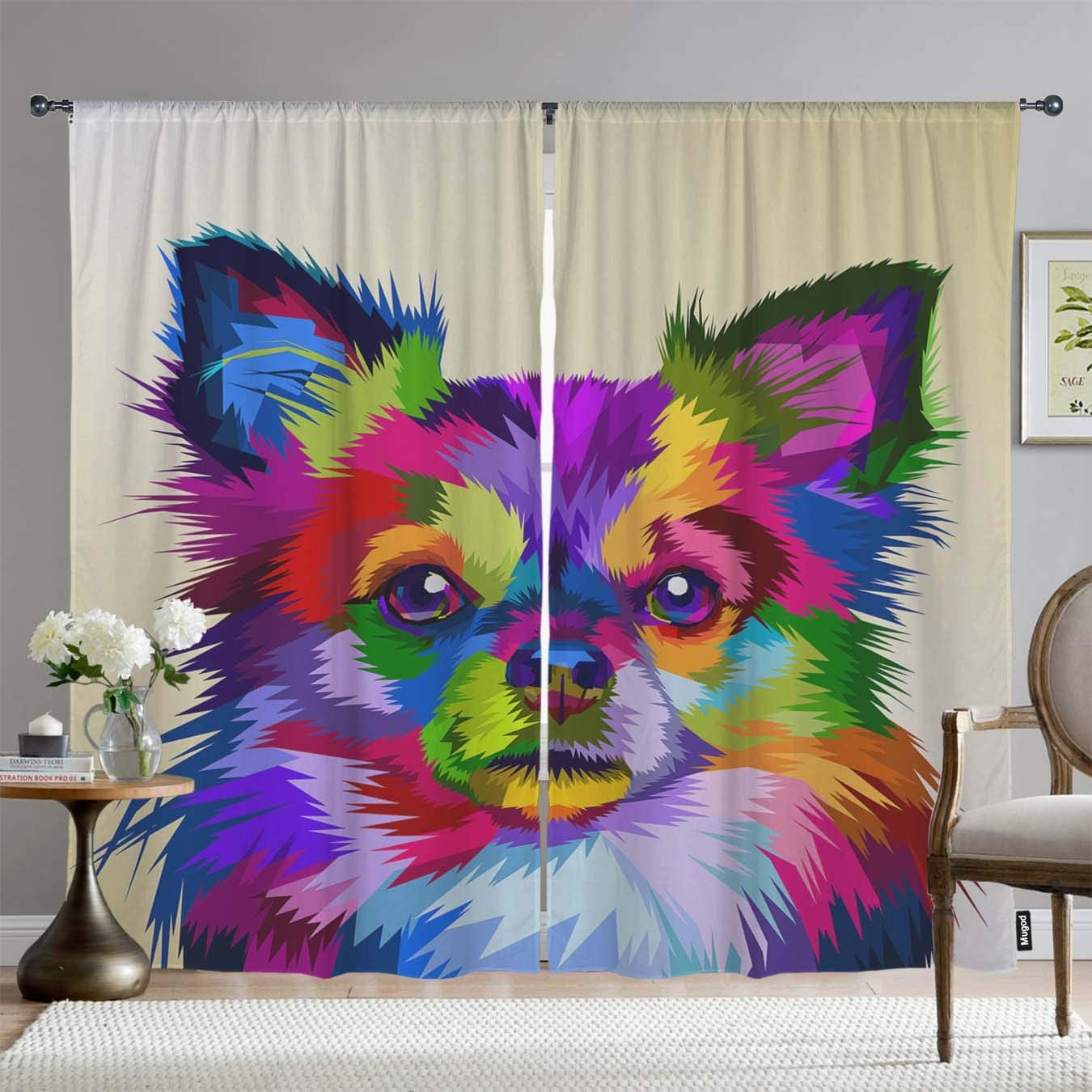 Mugod Dog Blackout Window Curtains Colorful Chihuahua Dog in Pop Art Style Decor Room Darkening Drapes Curtains 2 Panels for Bedroom Living Room Kitchen, 108 x 96