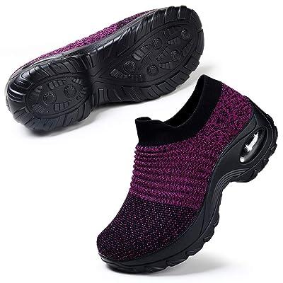 Women's Fashion Sneakers Breathable Mesh Casual Sport Shoes Comfortable Walking Shoes Black Purple 8.5 | Walking