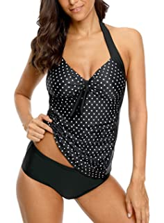 cf6657b676 ALove Halter Tankini Swimsuits for Women Polka Dot Bathing Suits Two Piece  Swimwear