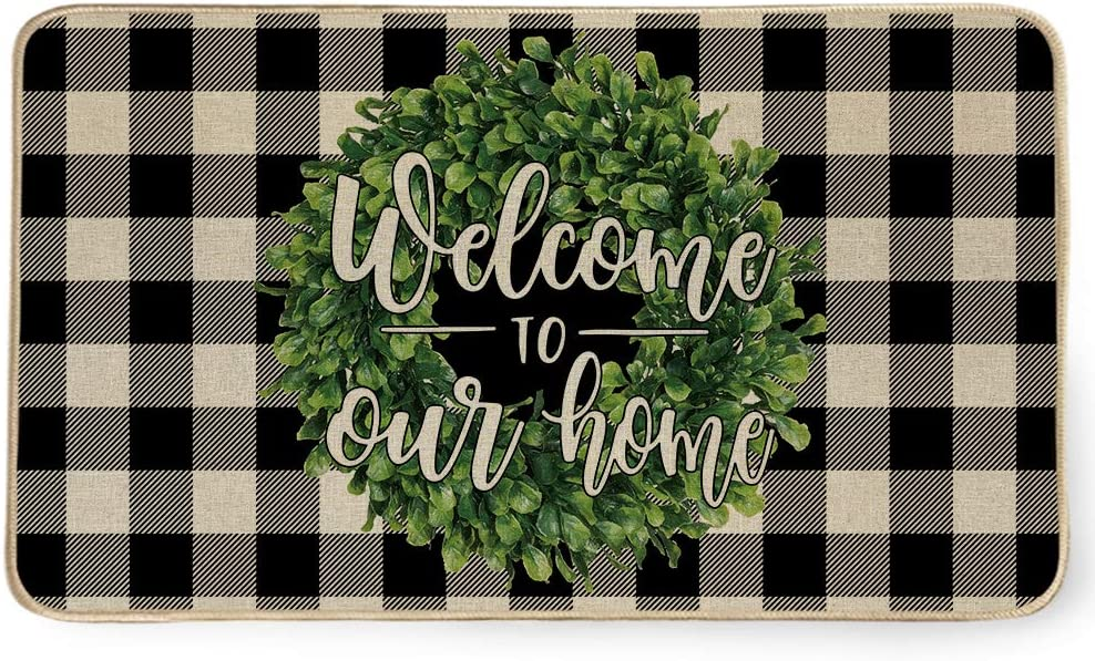 AENEY Welcome to Our Home Door Mat, Buffalo Plaid Boxwood Wreath Decorative Doormat Switch Mat,Rubber Non Slip Front Door Entrance Rug, Holiday Farmhouse Home Decor Indoor Outdoor Mat 17x29 Inch D007