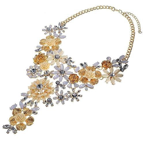 986e6ed377da Disfraz joyas moda gargantilla declaración collar amarillo flores colgantes  collares cadena collar  Amazon.es  Joyería