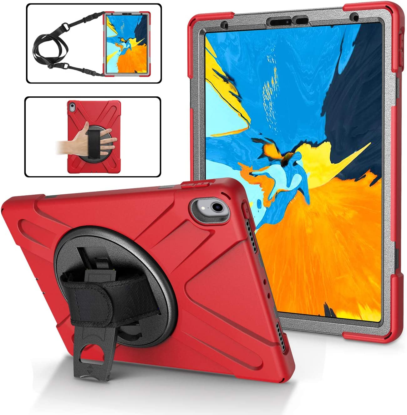 Case for iPad Pro 11 Inch 2018 | TSQ iPad Pro 11 2018 Case Rugged Corner Protection | Full-Body Protective Hybrid Cover with 360 Degree Swivel Kickstand, Shoulder Strap, Hand Strap for Kids | Red