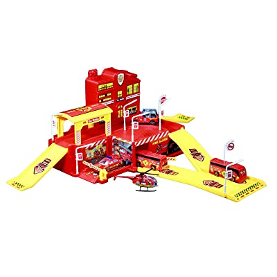 TychoTyke Kids Fire Station Action Parking Garage Toy Set Die Cast Cars Vehicles: Toys & Games