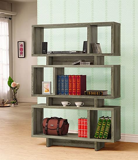 Coaster Home Furnishings 3-Tier Open Bookcase Weathered Grey