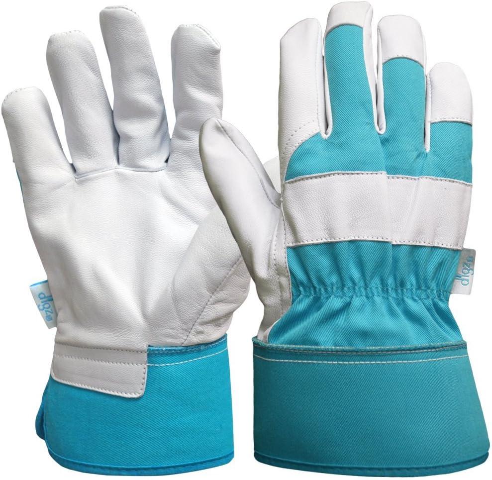 DIGZ Goatskin Leather Palm Garden Gloves with Safety Cuff, Medium
