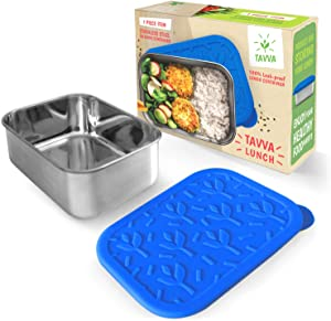 TAVVA Stainless Steel Food Container 23oz - Plastic Free Silicone Lid - Leakproof Lunch Container - Reusable - Dishwasher Safe - Also Suitable as Kids Lunch Box, Toddler Lunch Box, Sandwich Container