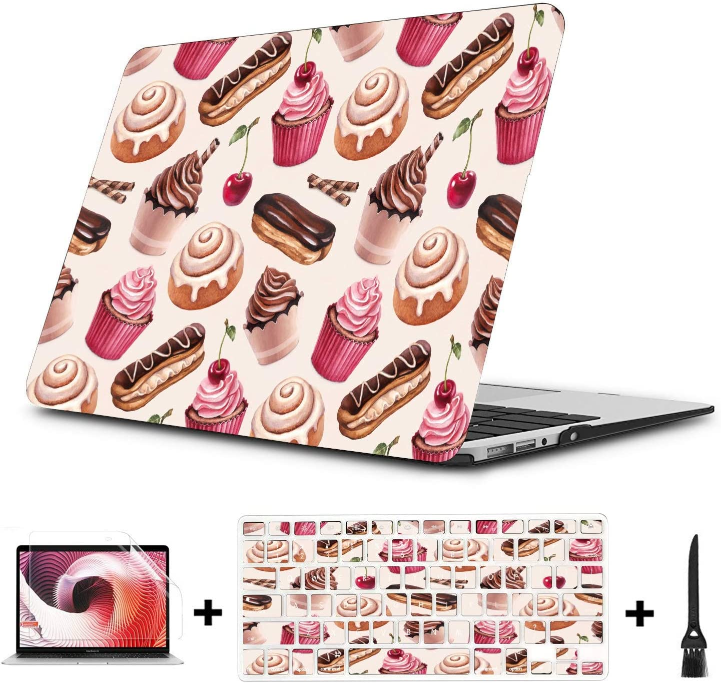 Cover for MacBook Air Sweet Beautiful Colorful Cup Cake Plastic Hard Shell Compatible Mac Air 11 Pro 13 15 MacBook Air Protective Cover Protection for MacBook 2016-2019 Version