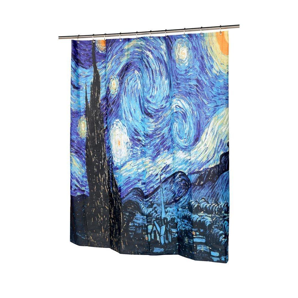 Amazon Get Orange Van Gogh Starry Night Shower Curtain Thicken With 12pcs Plastic Hooks 72quot X Home Kitchen