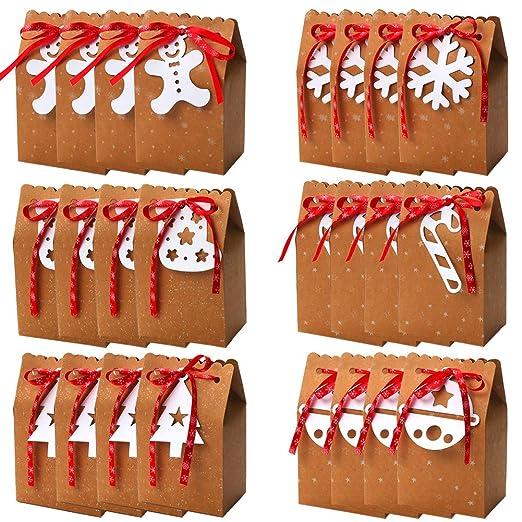 Bolsas de regalo de Navidad, 24 piezas Bolsas de papel Kraft ...