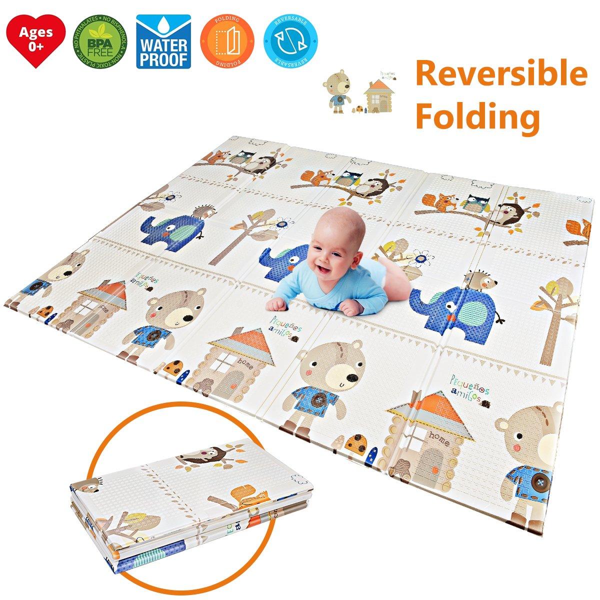 "Folding Kids Play Mat | Portable Baby Play Mat | BPA FREE Non Toxic 78.7"" x 59 0.4 Extra Large Reversible Foam Crawling Mat Toddlers Waterproof Non-Slip Picnic Outdoor Playroom Forstart ML-A02PAN-PM02"