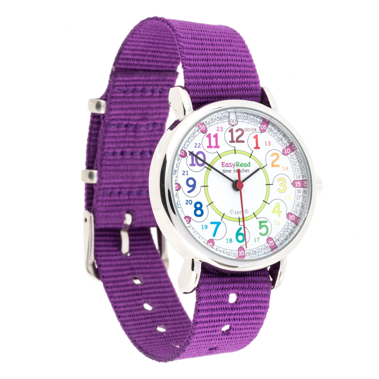 EasyRead Time Teacher Children's Watch, 12 & 24 Hour Time, Rainbow Colors, Purple Strap