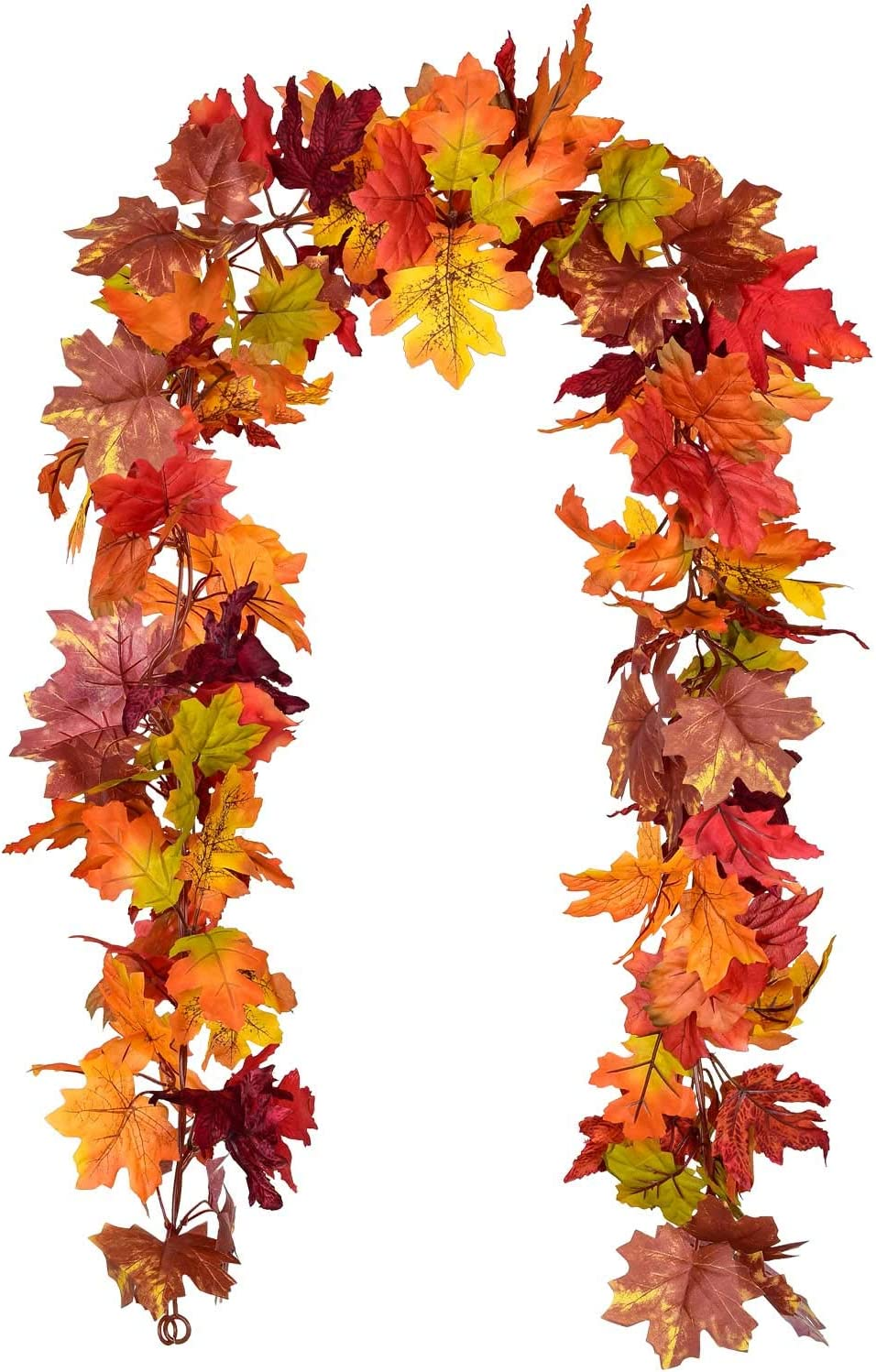 Lvydec 2 Pack Fall Garland Decoration - 5.8ft/Strand Artificial Maple Garland Colorful Leaves Autumn Decor for Home Wedding Party Thankgiving (Mixed Color)