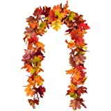 Lvydec 2 Pack Fall Garland Decoration - 5.8ft/Strand Artificial Maple Garland Colorful Leaves Autumn Decor for Home…
