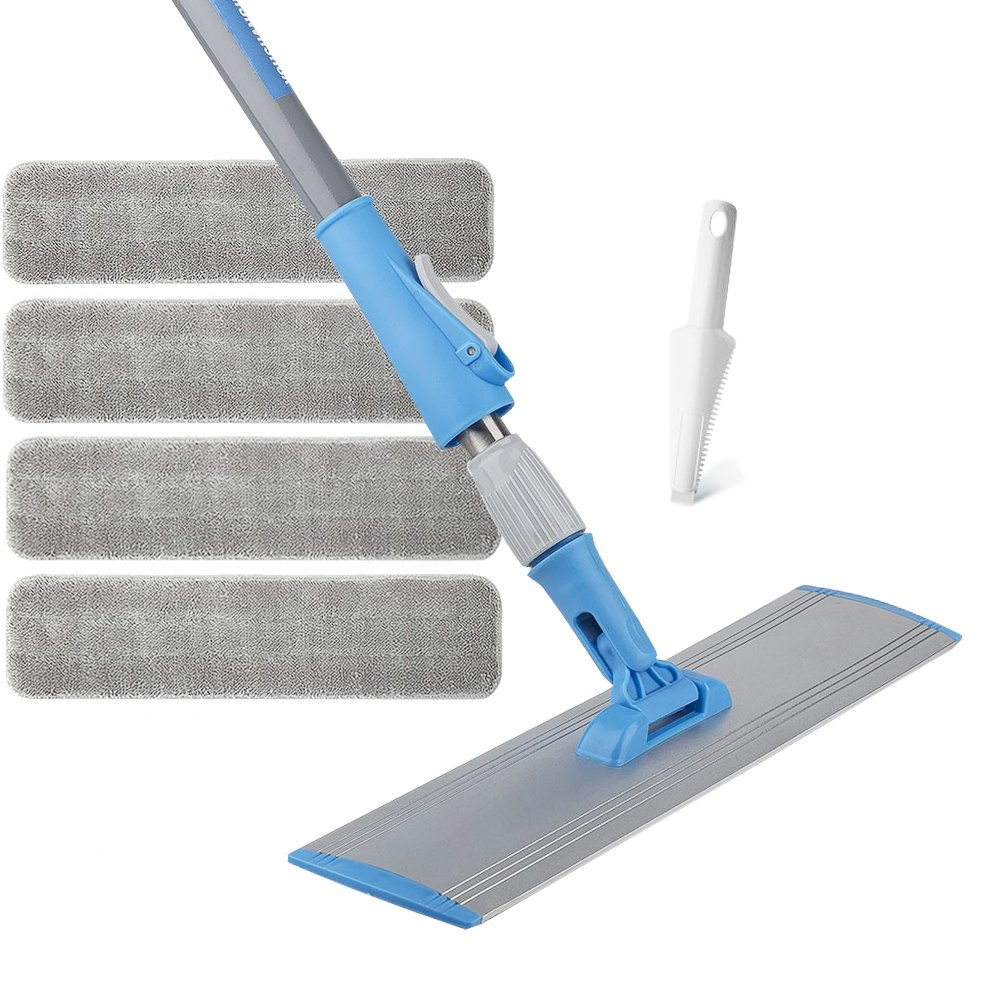 Wet Mop 18'' Microfiber Mop Dry Mop For Home Bathroom Hardwood Laminate Cleaning 4 FREE Microfiber Pads + 1 Dirt Removal Scrubber