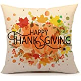 4TH Emotion Happy Thanksgiving Autumn Leaves Home Decor Design Throw Pillow Cover Pillow Case 18 x 18 Inch Cotton Linen for Sofa