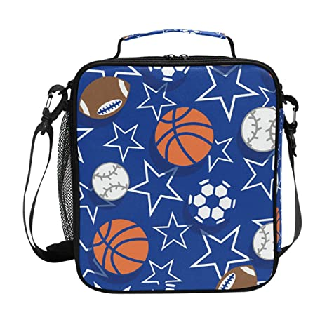 199a4bb6a143ca Amazon.com  FOLPPLY Sport Balls Soccer Stars Pattern Lunch Bag ...