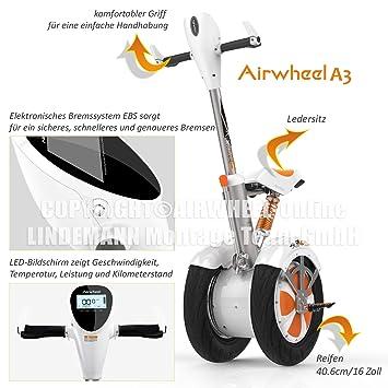 AIRWHEEL A3 Patinete Eléctrico/S de monociclo. Batería 520 ...