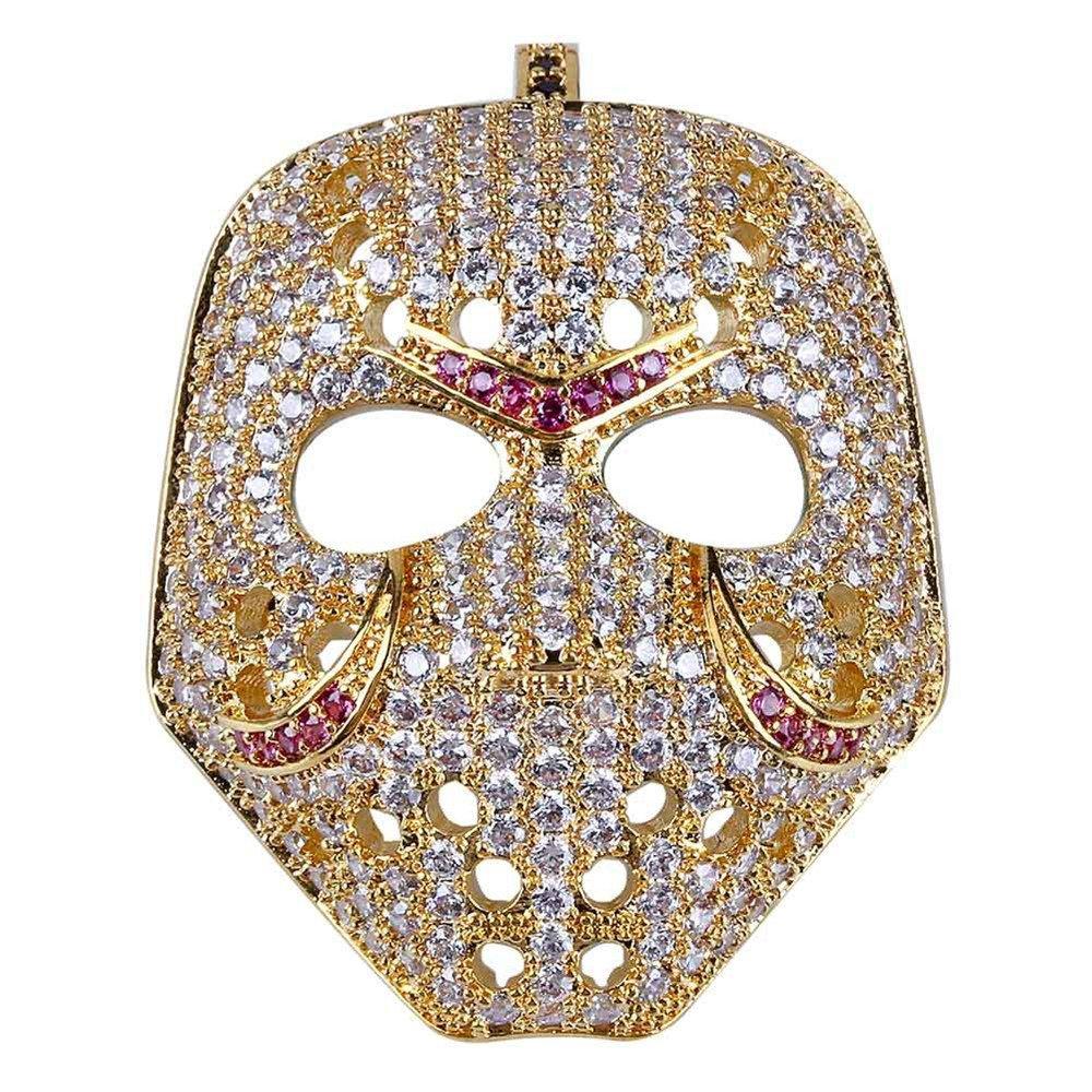 Jewelrysays Hip Hop Men Jewelry Retro Mask Gold Pendant Micro-Inlaid Zircon Necklace