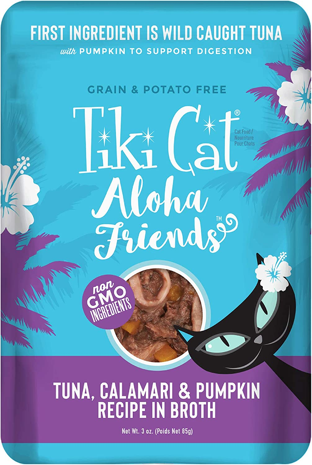 Tiki Cat Aloha Friends Grain Free Wet Cat Food in Pouches for All Life Stages - Seafood with Pumpkin Recipes 3oz Pouch (Pack of 12)