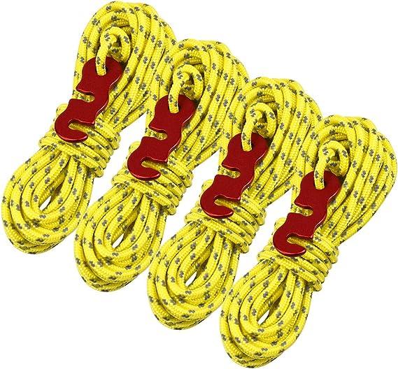 Netspower Cuerdas Reflectantes de 16 m Paracord 3 mm de Nylon con Tensor de Cuerda para Acampar al Aire Libre, Cuerda de Paracord Negrita Cuerda ...