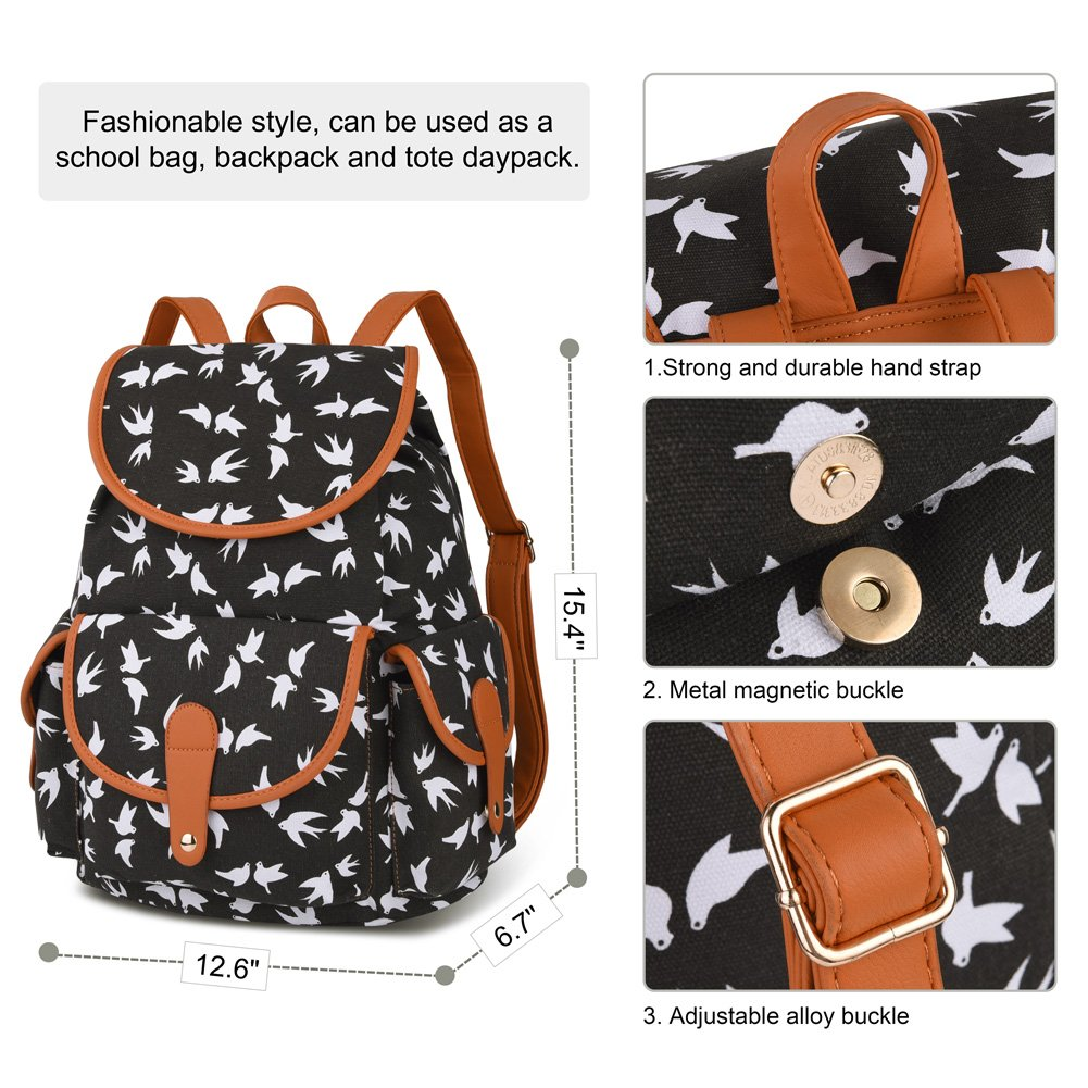 Vbiger Canvas Backpack for Women & Girls Boys Casual Book Bag Sports Daypack (Bird Black) by VBIGER (Image #4)