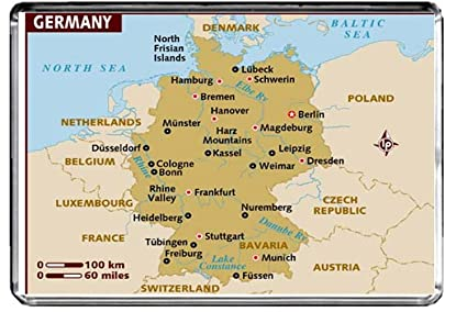 Map Of Germany Mountains.Amazon Com M075 Map Of Germany Fridge Magnet Germany Travel