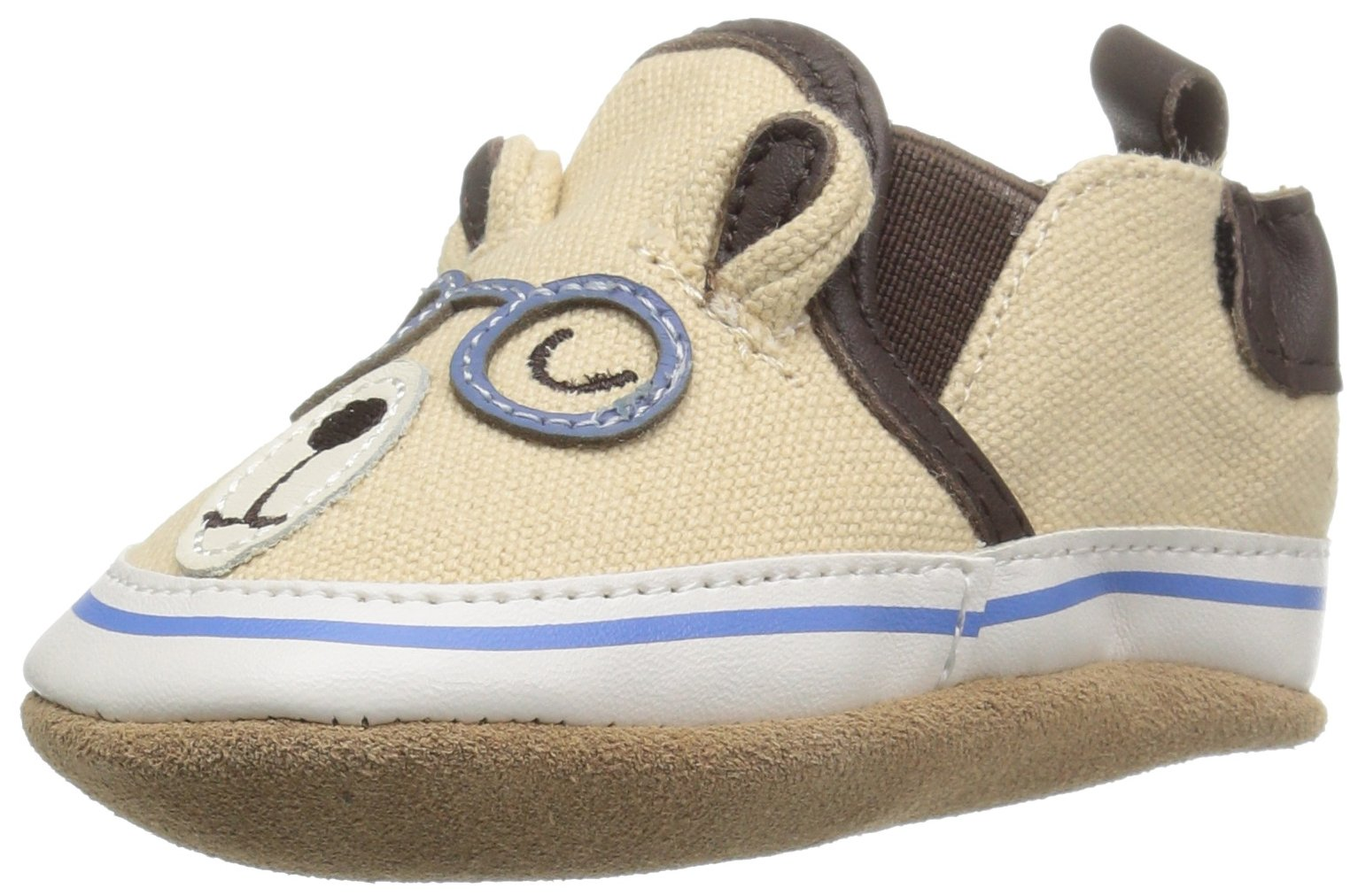 Robeez Boys' Brainy Bear Loafer, Brainy Bear Beige, 0-6 Months M US Infant