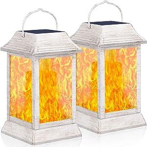 TomCare Solar Lights Metal Flickering Flame Solar Lantern Outdoor Hanging Lanterns Lighting Heavy Duty Solar Powered Waterproof Umbrella LED Flame Lights for Patio Garden Deck Yard, 2 Pack (White)