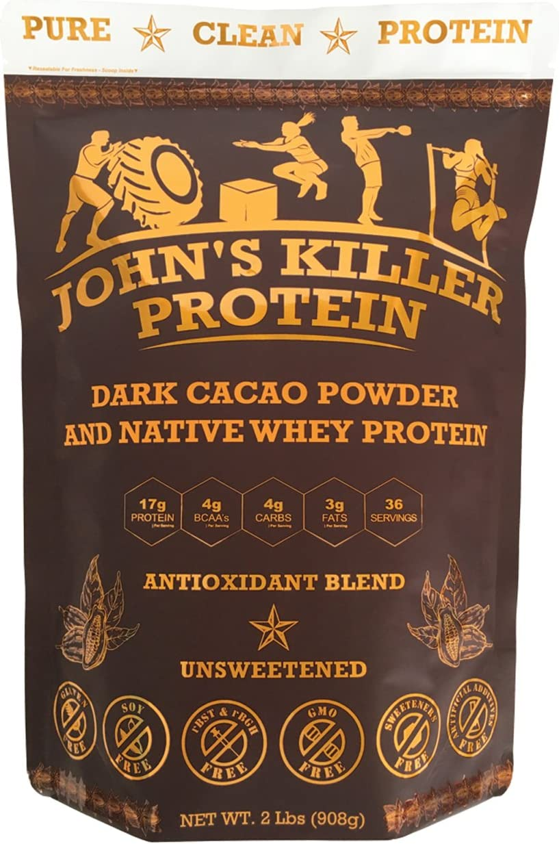 New – John s Killer Protein – Antioxidant Protein Blend. an Ideal Mix of Organic Cacao Powder Our Native whey Protein. Non-GMO, Gluten Soy Free. Pure Chocolate Protein Without Any sweeteners.