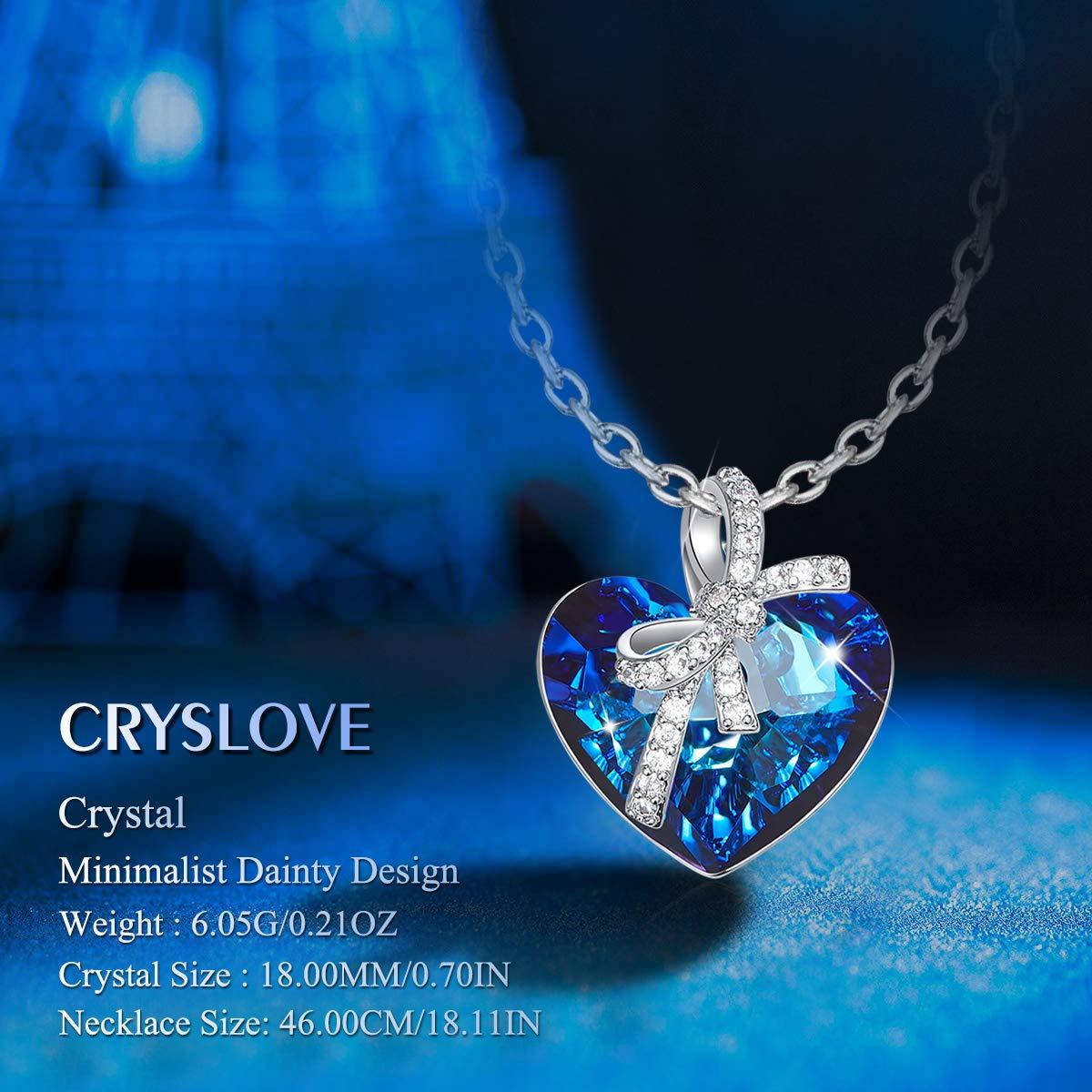 Cristal Bleu Coeur Collier Maman,Cadeau f/ête des m/ères CRYSLOVE Coeur dOc/éan Collier Femme Pendentif Cristal Colliers Femme