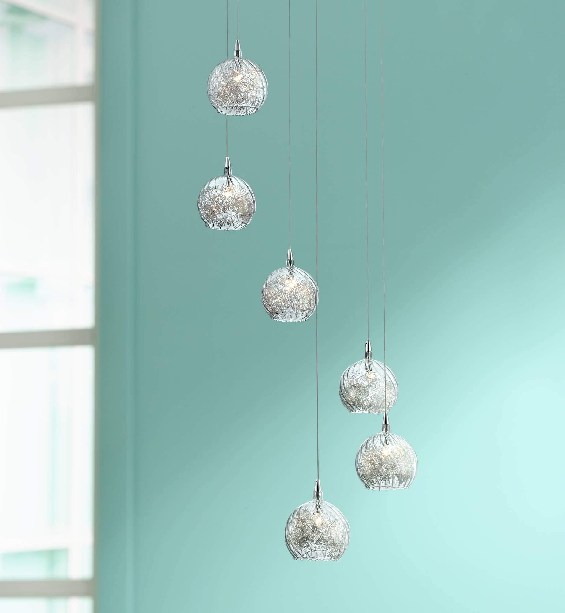 Possini Euro Design Wired 18'' Wide Glass Multi Light Pendant - Possini Euro Design