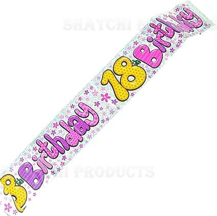 9ft Pink /& Silver Happy Birthday Glitz Prismatic Pennant Banner