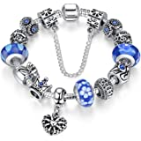 """A TE® Bracelet Charms Verre Femmes """"Charme de la Reine"""" Cadeau #JW-B110"""