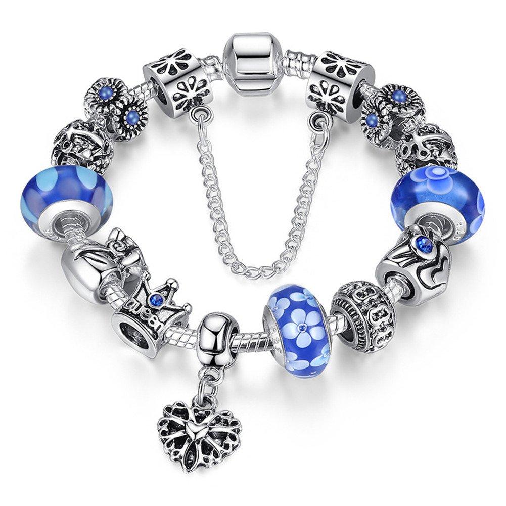 A TE® Bracelet Charms Verre Femmes Charme de la Reine Cadeau #JW-B110 ATE