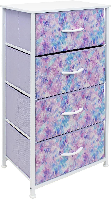 Sorbus Dresser Storage Tower, Organizer Drawers For Closet Boys & Girls Bedroom Bedside Furniture, Chest for Home, College Dorm, Steel Frame, Wood Top, Tie-dye Fabric Bins (4-Drawer, Blue/Pink/Purple)