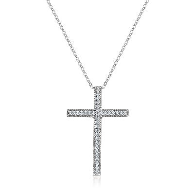 54f0e9c5b49f6 Amazon.com: Lesa Michele Cubic Zirconia Antique Style Cross Pendant ...
