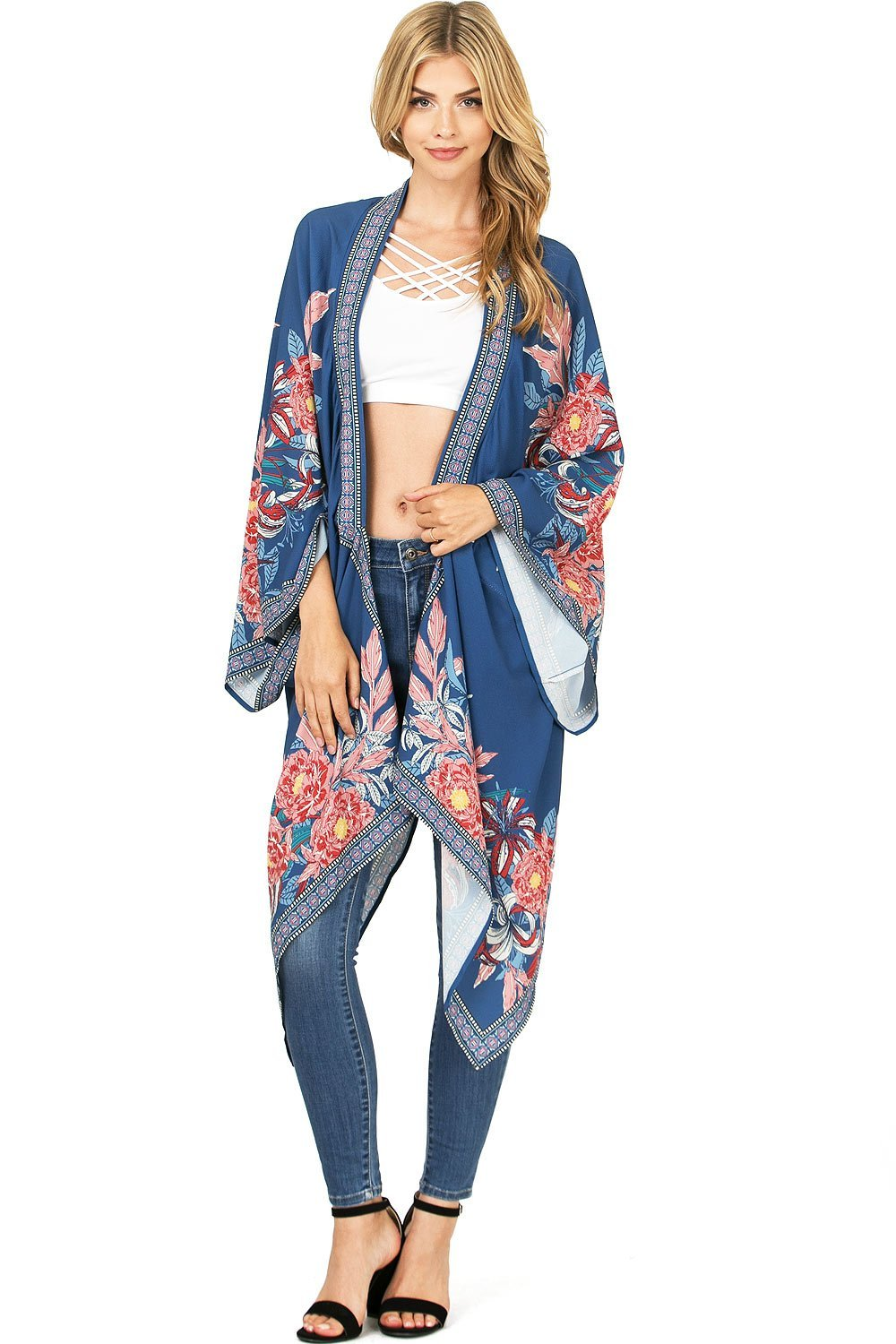 Flying Tomato Women's Kimono Style Wide Sleeve Cardigan (S/M, Navy Blue)