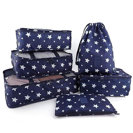 BeeViuc 6 Set Organizadores de Viaje para Maletas, Bolsas de Equipaje Impermeable Cubos Embalaje de Viaje Bolsas de Almacenamiento para Ropa Zapatos, ...
