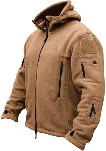 TACVASEN Chaqueta Militar Caliente para Hombre a Prueba de Viento Fleece Jacket Sand
