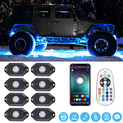 RGB LED Rock Lights -8 Pod Lights Multicolor Neon Lights Under Off Road Truck SUV ATV: Automotive