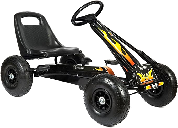 Bopster Go Kart With Pedals And Inflatable Tyres Go Kart Driving Kids Boys Outdoor Flames Spielzeug