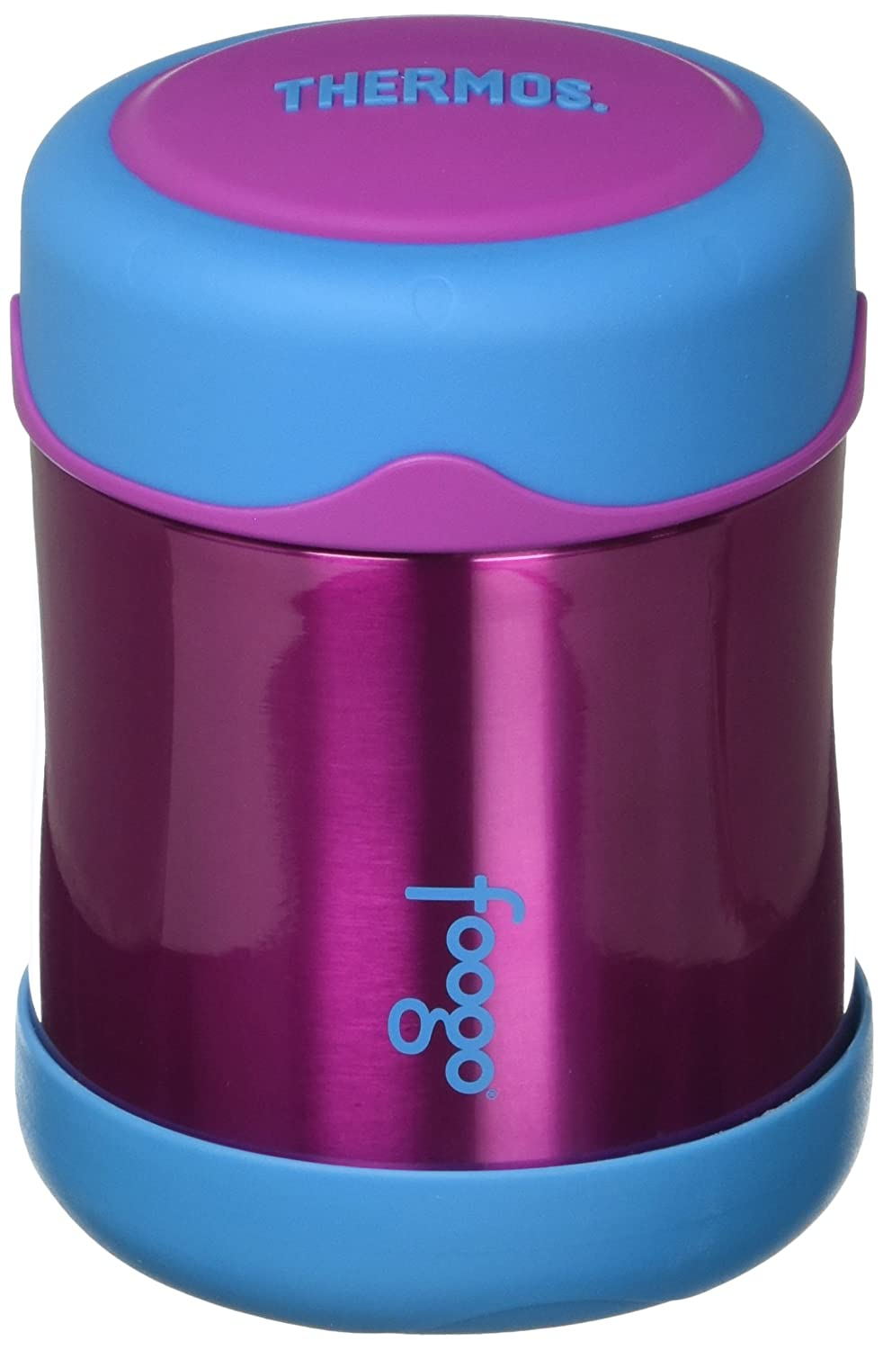 THERMOS FOOGO Vacuum Insulated Stainless Steel 10-Ounce Food Jar, Aubergine/Blue Thermos L.L.C B3007AC2