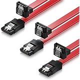 deleyCON SET - 3x [0,5m] S-ATA 3 Winkel-Kabel - PREMIUM SATA 3 HDD/SSD Datenkabel mit Clip - 1x Stecker gerade zu 1x Stecker 90° - Übertragungsraten bis zu 6 GBit/s - Länge: 50cm/Farbe: Rot