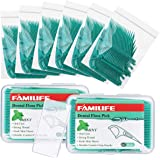 FAMILIFE Dental Floss Picks Mint Flavor with Portable Travel Cases Floss Refill, 420 Count (Pack of 8)
