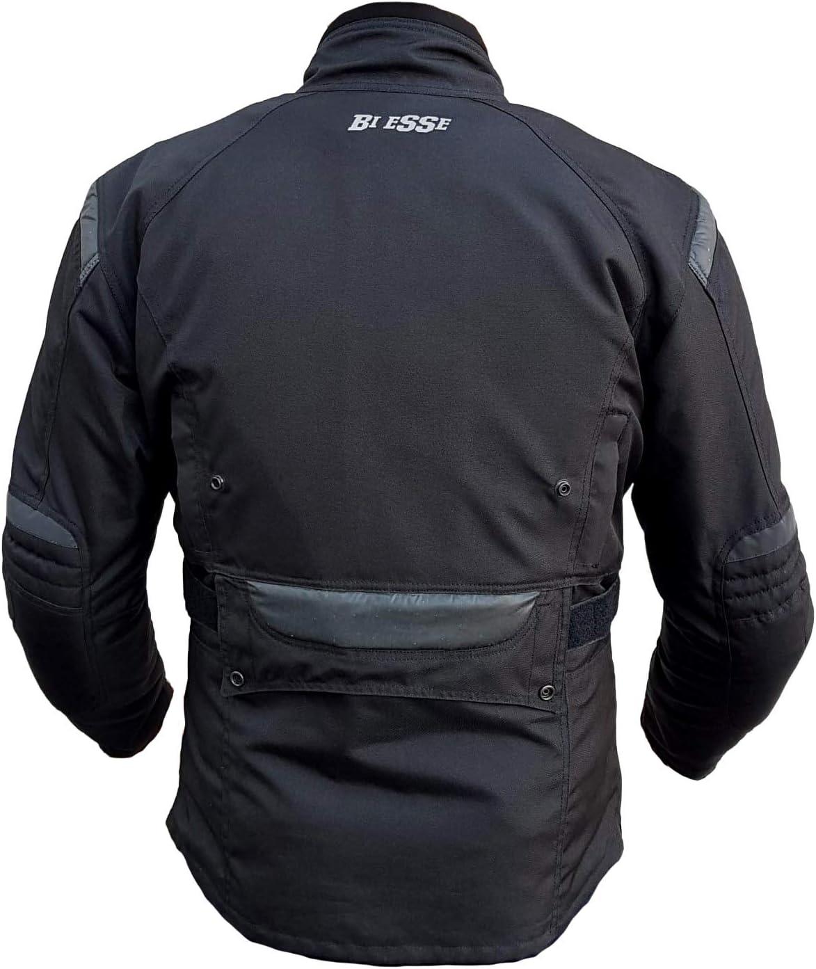 BIESSE Nero, XL Fodera termica rimovibile Giacca giubbotto da moto in cordura Uomo Protezioni CE Tessuto impermeabile
