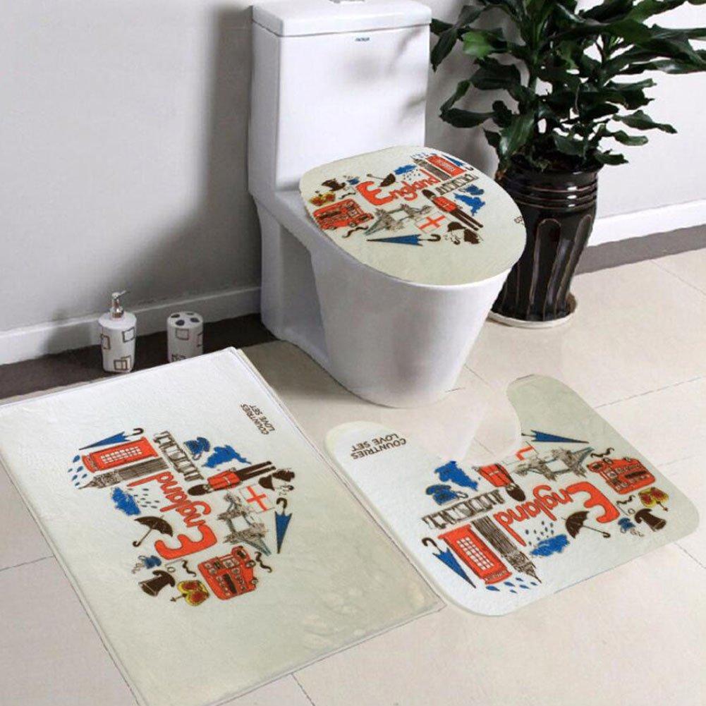 Non Slip 3 Piece Bathroom Mat Sets , Pedestal Rug + Lid Toilet Cover + Bath Mat Set Flannel Anti-slip Mat Bathroom Decoration ( Color : E )