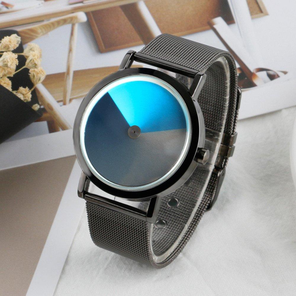 Amazon.com: Turntable Geek Watch for Men & Women, No Pointer Gradient Color Dial, Vortex Design, Cool Unisex Spiral Wristwatch (Gray&Blue): Watches