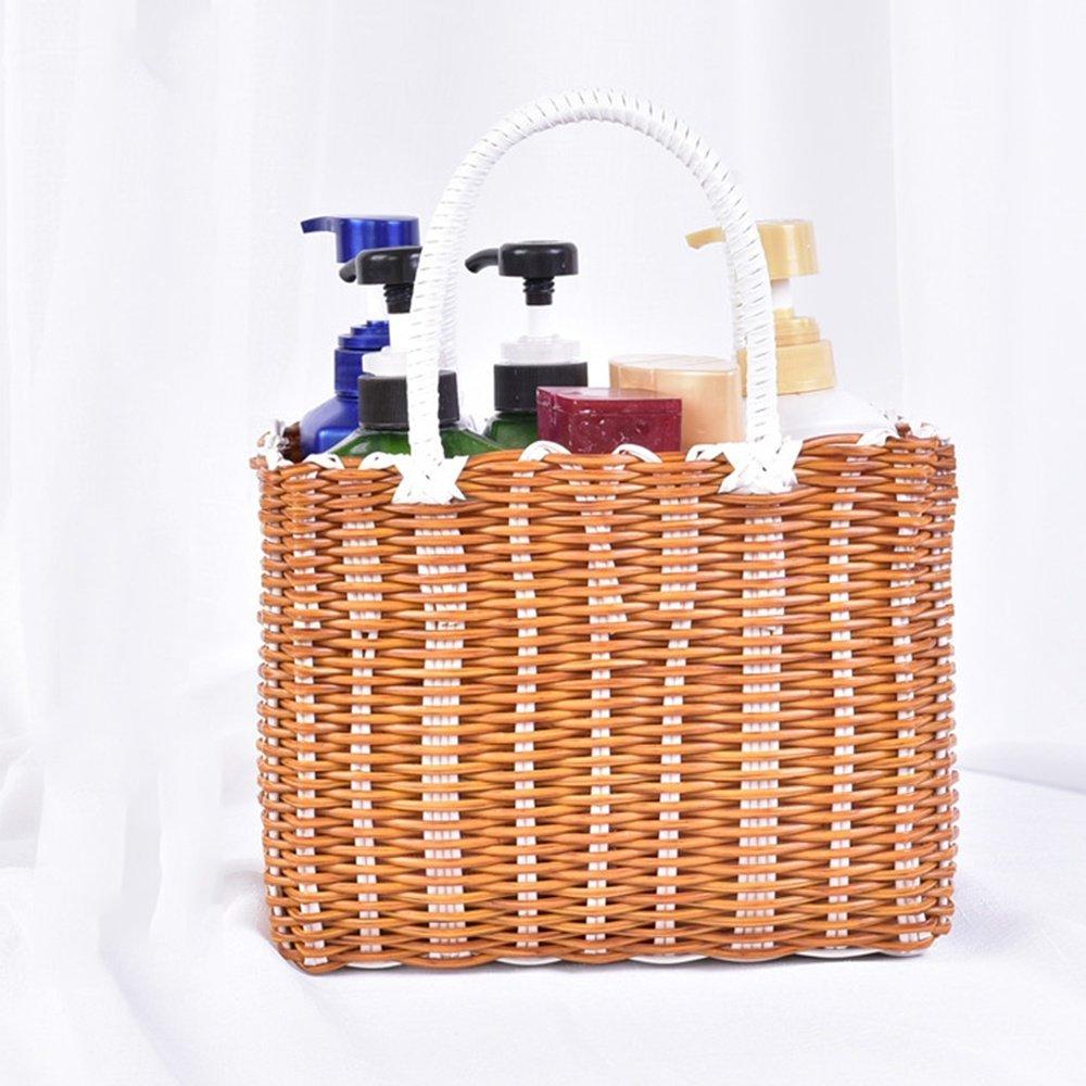 SEESUNG Plastic Woven Bath Blue Bathroom Storage Basket Basket Baby Portable Basket Basket Hanging Basket Flower Basket, Khaki