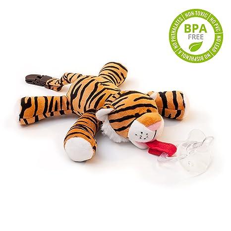 Chupete con tigre BabyHuggle - Chupeta con peluche para bebé, Juguete de felpa suave con