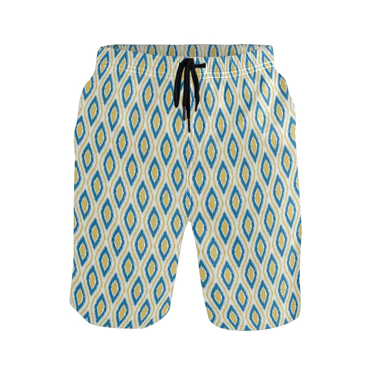 COVASA Mens Summer ShortsAsian Style Ikat Motifs with Colored Patterns Indones